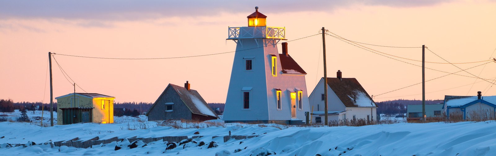 North Rustico lighthouse in winter