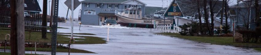 Flooded streets in North Rustico harbour