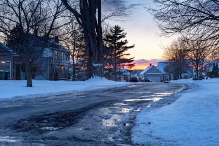 Residential District winter after snowing at dusk in Charlottetown, Prince Edward Island